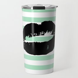 Pastel Goth - Mint Stripes and Lips 1 Travel Mug