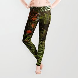 Exotic Jungle Landscape with Monkeys and Birds by Henri Rousseau Leggings