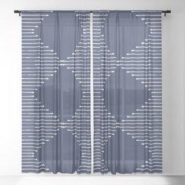 Geo (Navy) Sheer Curtain