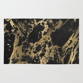 Modern faux gold glitter black marble Rug