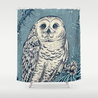 hedwig Shower Curtains featuring Winter Snowy Owl by Angela Rizza