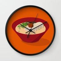 ramen Wall Clocks featuring Ramen (Akamaru Chashu) by Hello Fever