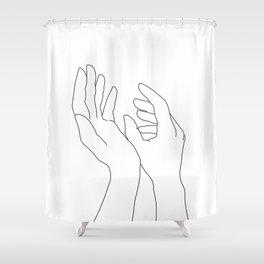 Hands line drawing illustration - Elsa Shower Curtain