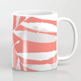 Geometric New Living Coral pattern autumn fall tropical Palm leaves , society6 Coffee Mug