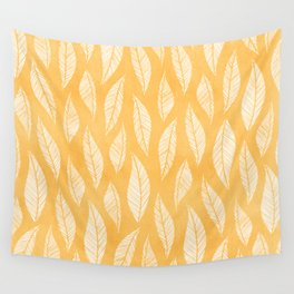 Modern Tropical Leaf Pattern - Yellow Wall Tapestry