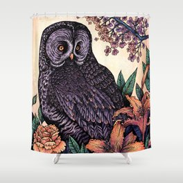 Great Grey Owl At Sunset Shower Curtain