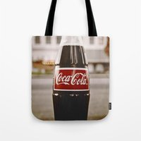 coke Tote Bags featuring Roadside coke by Vorona Photography