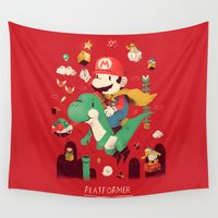 gaming Wall Tapestries featuring platformer by Louis Roskosch