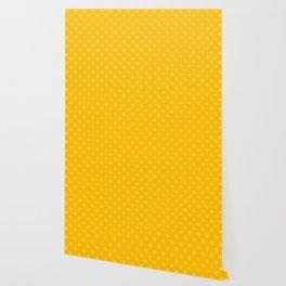 Cream Yellow on Amber Orange Snowflakes Wallpaper