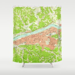 Vintage Map of Huntington West Virginia (1957) Shower Curtain