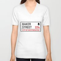 221b V-neck T-shirts featuring 221B Baker Street by TheWonderlander