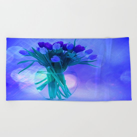 A Blue Bloom for Spring Beach Towel