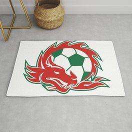 Welsh Dragon Soccer Ball Rug