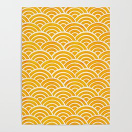 Japanese Seigaiha Wave – Marigold Palette Poster
