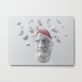 ancient man sculpture with wires in his head Metal Print