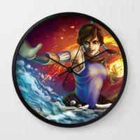 korra Wall Clocks featuring Korra by Nikittysan