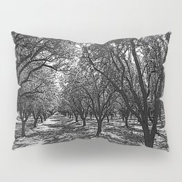Black & White California Almond Orchard  Pencil Drawing Photo Pillow Sham