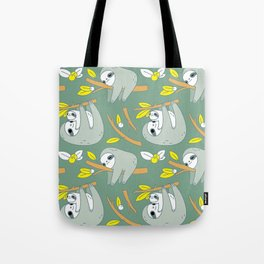 Sloth pattern in green Tote Bag