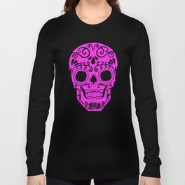pink and white skull.. white is transparent on shirts... Long Sleeve T-shirt