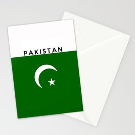Pakistan country flag name text Stationery Cards