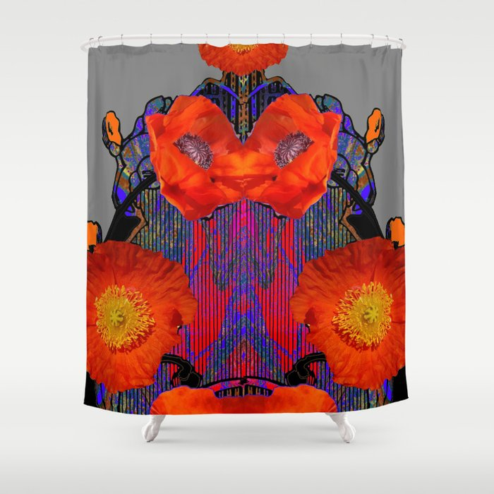 Modern Art Nouveau Fiery Orange Poppy Flowers Purple Shower Curtain