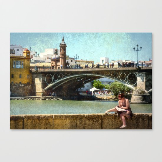 Relaxing by the river Guadalquivir, Sevilla Canvas Print