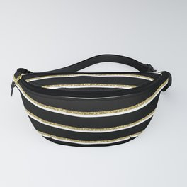 Black Gold White Stripe Pattern 2 Fanny Pack