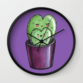 Cactus mom kawaii Wall Clock