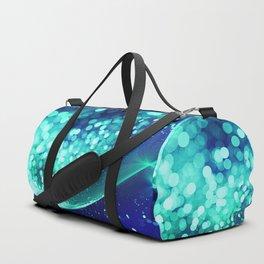 Aqua Blue Glitter Wave Duffle Bag