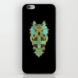 Gold and glass owl with celtic cross iPhone Skin