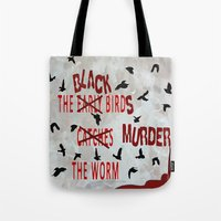 dramatical murder Tote Bags featuring MURDER  -  021 by Lazy Bones Studios