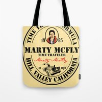 marty mcfly Tote Bags featuring Marty McFly by SuperEdu