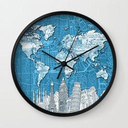 world map city skyline 10 Wall Clock