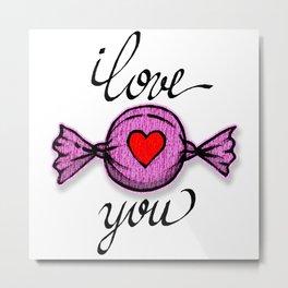 I love you (pink) Metal Print