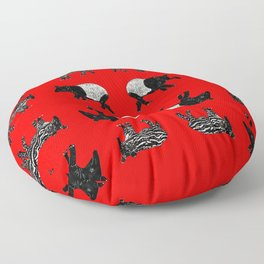 Dance of the Tapirs in red Floor Pillow