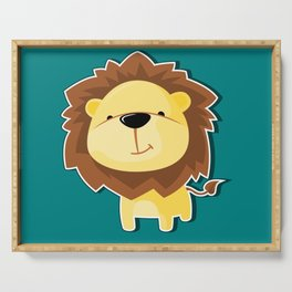 A Cute Smiling Lion Graphic Illustration Serving Tray
