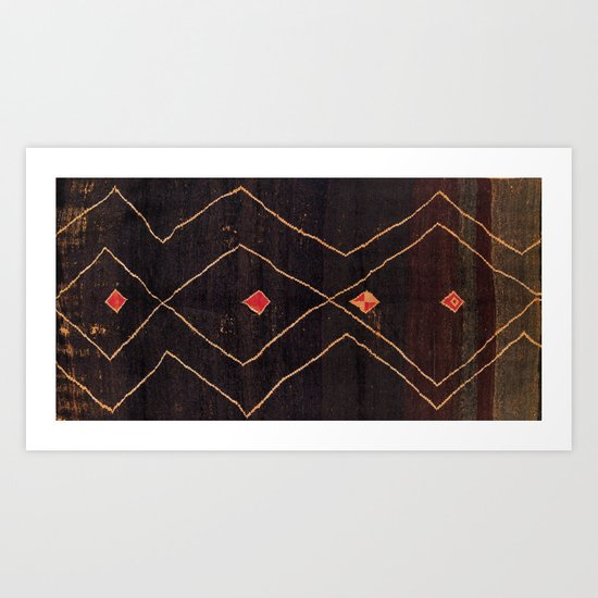 Feiija  Antique South Morocco North African Pile Rug Print by vickybragomitchell