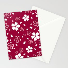 Japanese Red Sakura Pattern Stationery Cards