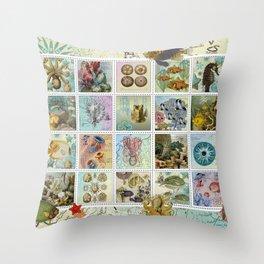 Undersea Garden Postal Collage Throw Pillow