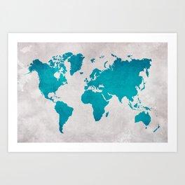Map of the World - Blue Steel Art Print