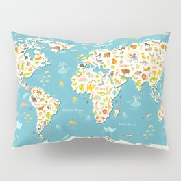 Animals world map. Beautiful cheerful colorful vector illustration for children and kids Pillow Sham