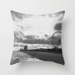 South Carolina Coastline - Myrtle Beach BW Throw Pillow
