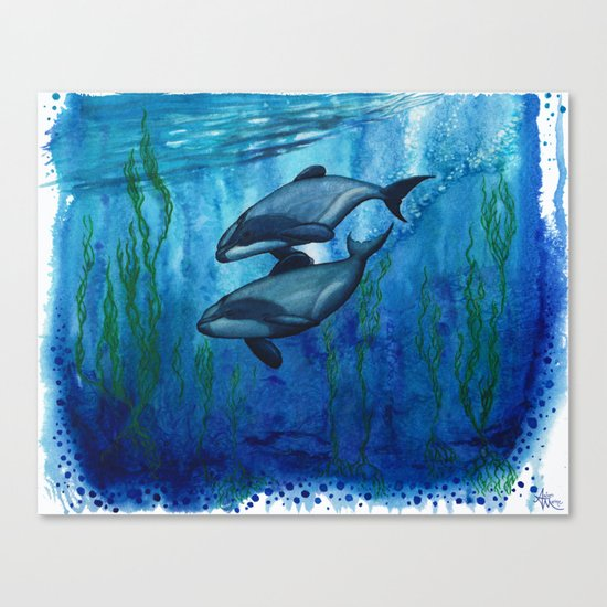 """""""Maui's Magic"""" by Amber Marine ~ (Maui's Dolphins) Watercolor Painting, (c) 2016 Canvas Print"""