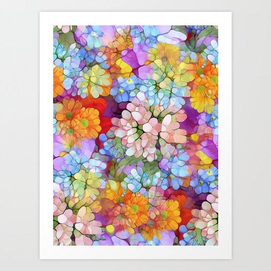 Rainbow Flower Shower Art Print