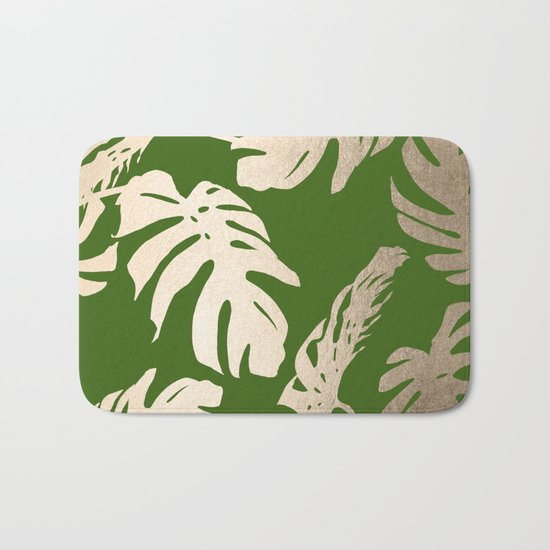Palm Leaves White Gold Sands on Jungle Green Bath Mat
