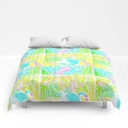 Asian Bamboo Garden in Pink Lemonade Watercolor Comforters