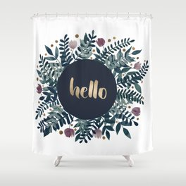 Hello flowers and branches - grey green and garnet Shower Curtain