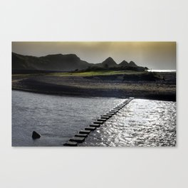 Stepping stones at Three Cliffs Bay Canvas Print