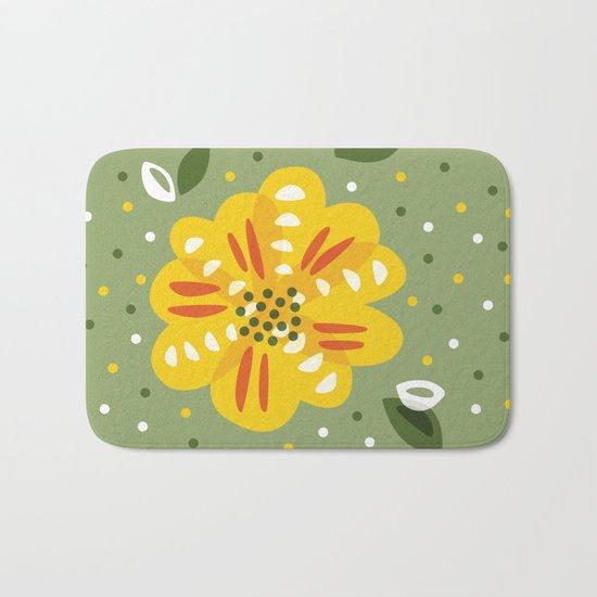 Abstract Yellow Primrose Flower Bath Mat