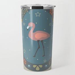 Festive Easter Egg with Cute Flamingo Bird Travel Mug